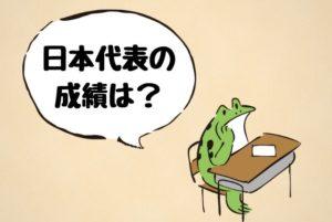 日本代表の成績を知りたがるカエルの画像