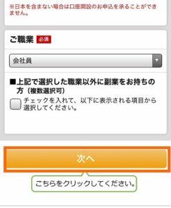 楽天銀行の申込み画面