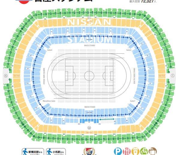 横浜国際総合競技場(日産スタジアム)の座席表
